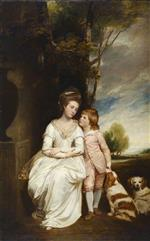 George Romney - Bilder Gemälde - Anne Countess of Albemarle and Her Son
