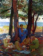 Theo van Rysselberghe - Bilder Gemälde - Bathers under the Pines by the Sea