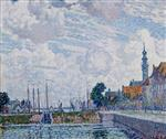 Theo van Rysselberghe  - Bilder Gemälde - Cloudy Sky over the Harbour of Veere