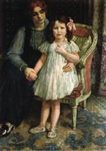 Theo van Rysselberghe  - Bilder Gemälde - Portrait of Madame Goldner-Max and Her Daughter Juliette