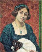 Theo van Rysselberghe  - Bilder Gemälde - Young lady with a dog