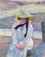 Theo van Rysselberghe  - Bilder Gemälde - Young Woman on the Banks of the Greve River