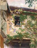 Max Slevogt - Bilder Gemälde - A Corner of the Courtyard with a Woman at a Window