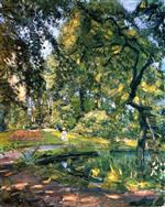 Max Slevogt - Bilder Gemälde - Garden in Godrammstein with Overgrown Trees and Pond