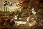 Frans Snyders - Bilder Gemälde - A Cockfight, with Hens, Peacock, Muscovy Duck, Turkey, and Pigeons, in a Garden Setting