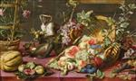 Frans Snyders - Bilder Gemälde - A Spilled Basket of Fruits on a Draped Table with Monkeys