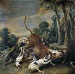 Frans Snyders - Bilder Gemälde - Bull Surrendered by Dogs