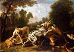 Frans Snyders - Bilder Gemälde - Dogs Fighting in a Wooded Clearing