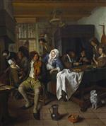 Jan Havicksz Steen  - Bilder Gemälde - Interior of a Tavern with Card Players and a Violin Player