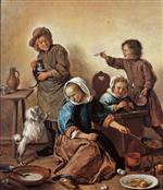 Jan Havicksz Steen  - Bilder Gemälde - Kitchen Scene with Maid and Children