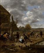 Jan Havicksz Steen  - Bilder Gemälde - Landscape with an Inn and Skittles