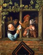 Jan Havicksz Steen  - Bilder Gemälde - Rhetoricians at at Window