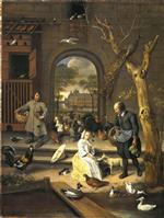 Jan Havicksz Steen  - Bilder Gemälde - The Poultry Yard