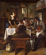 Jan Havicksz Steen  - Bilder Gemälde - The Prayer before the Meal