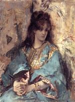Alfred Emile Stevens - Bilder Gemälde - A Woman Seated in Oriental Dress
