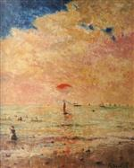 Alfred Emile Stevens  - Bilder Gemälde - Off the Coast at Deauville