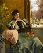 Alfred Emile Stevens  - Bilder Gemälde - Pensive Woman at the Window