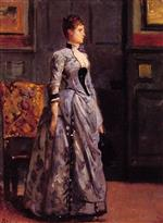 Alfred Emile Stevens  - Bilder Gemälde - Portrait of a Woman in Blue