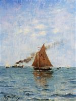 Alfred Emile Stevens  - Bilder Gemälde - Sailboats and Steamships
