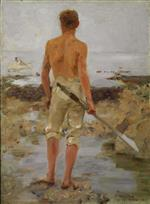 Henry Scott Tuke - Bilder Gemälde - A Boy with an Oar