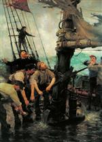 Henry Scott Tuke - Bilder Gemälde - All Hands To The Pump