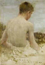 Henry Scott Tuke - Bilder Gemälde - Back of a boy bather