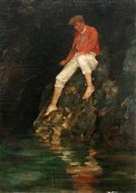 Henry Scott Tuke - Bilder Gemälde - Boy Fishing on Rocks