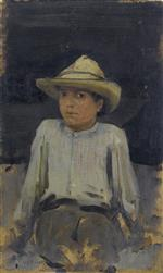 Henry Scott Tuke - Bilder Gemälde - Boy with hat
