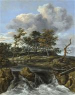 Jacob Isaackszoon van Ruisdael - Bilder Gemälde - A River Landscape with a Man crossing a Bridge above a Waterfall