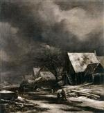 Jacob Isaackszoon van Ruisdael - Bilder Gemälde - A Village in Winter