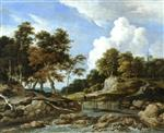 Jacob Isaackszoon van Ruisdael - Bilder Gemälde - A wooded river landscape with a bridge, a church beyond