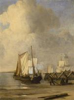 Willem van de Velde - Bilder Gemälde - A Kaag coming Ashore near a Groyne with Ships and Vessels under Sail Beyond