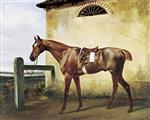 Emile Jean Horace Vernet - Bilder Gemälde - A Saddled Race Horse Tied to a Fence