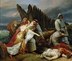 Emile Jean Horace Vernet - Bilder Gemälde - Edith Finding the Body of Harold