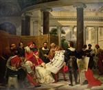 Emile Jean Horace Vernet - Bilder Gemälde - Pope Julius II ordering Bramante, Michelangelo and Raphael to construct the Vatican and St. Peter's