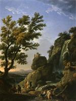Claude Joseph Vernet  - Bilder Gemälde - Landscape with Waterfall and Figures