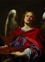 Simon Vouet - Bilder Gemälde - Angel Holding the Vessel and Towel for washing the hands of Pontius Pilate