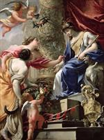Simon Vouet - Bilder Gemälde - Prudence Leading Peace and Abundance