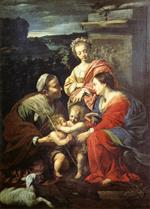 Simon Vouet  - Bilder Gemälde - The Holy Family with Sts Elizabeth, John the Baptist and Catherine
