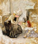 Edouard Vuillard - Bilder Gemälde - Afternoon Tea with a Little Girl