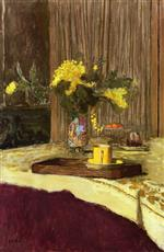 Edouard Vuillard  - Bilder Gemälde - Bouquet of Mimosa on a Table