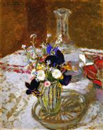 Edouard Vuillard  - Bilder Gemälde - Bouquet of Pansies, Myosotis and Daisies in front of a Carafe, on a Table