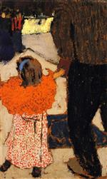Edouard Vuillard  - Bilder Gemälde - Girl Wearing an Orange Shawl