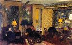 Edouard Vuillard  - Bilder Gemälde - Interior, The Salon with Three Lamps, Rue Saint-Florentin