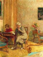 Edouard Vuillard  - Bilder Gemälde - Madam Hessel and Lulu in the Small Lounge of the Clayes