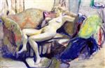 Edouard Vuillard  - Bilder Gemälde - Nude Stretched out on a Sofa