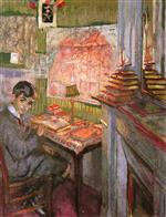 Edouard Vuillard  - Bilder Gemälde - Portrait of Jadques Laroche, Child, at His Work Table