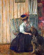 Edouard Vuillard  - Bilder Gemälde - Portrait of Madame Bonnard with her Dog at Rue Drouai