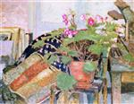 Edouard Vuillard  - Bilder Gemälde - Pot of Flowers in the Studio, rue Truffaut