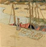 Edouard Vuillard  - Bilder Gemälde - Promenade in the port at Le Pouliguen
